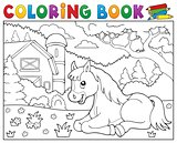 Coloring book horse near farm theme 2