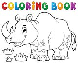 Coloring book rhino theme image 1