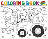 Coloring book tractor near farm theme 1