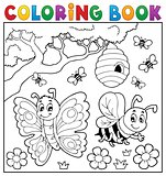 Coloring book with butterfly and bee