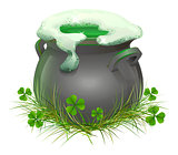 Pot of Irish beer. Irish ale brewed in the cauldron. Patricks Day
