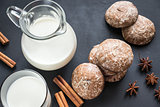 Gingerbread cakes with jug of milk
