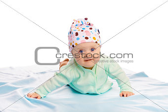 baby girl in a hat. Studio