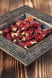 Dried chilies in a bowl