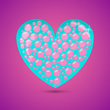 Glass Heart With Soap Bubbles