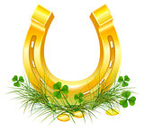 Golden Horseshoe and coins on grass clover. Patricks Day symbols