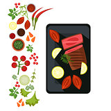 Medium Steak on Plate. Vector Illustration