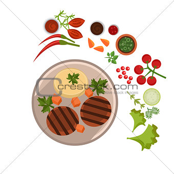 Appetizing Steak on Plate. Vector Illustration