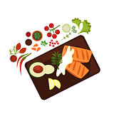 Cooked Steak on Plate. Vector Illustration