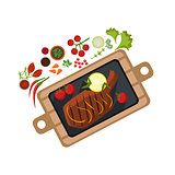 Grilled Steak on Plate. Vector Illustration