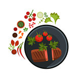 Medium Grilled Steak on Plate. Vector Illustration