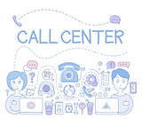 Support Call Center. Vector Illustration