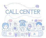 Support Call Center. Vector Illustration