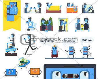 Smartphone Addiction. Vector Illustration Set