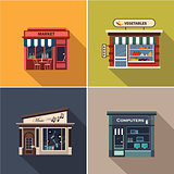 Stores and Shop Facades. Flat Vector Illustration Set