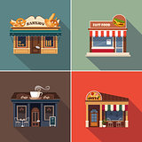 Stores and Shop Facades. Vector Illustration Set