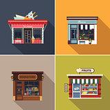 Stores and Shop Facades. Cute Vector Illustration Set