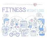 Fitness and Weight Loss. Vector Illustration