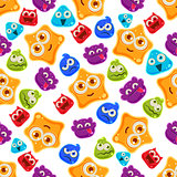 Colourful Jelly Characters with Emotions. Vector Illustration Pattern