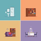 Interior Design Types. Vector Illustration Set