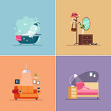 Interior Design Room Types. Vector Illustration Set