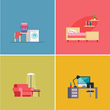 Interior Design Rooms. Vector Illustration Set