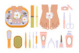 Spa Pedicure Set. Vector Illustration