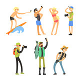 Creative People Taking Photos. Vector Illustration Set