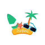 Surfing. Summer Vacation. Vector Illustration