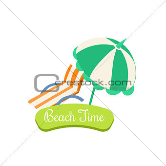 Beach Time. Summer Vacation. Vector Illustration