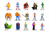 Superheroes in Different Poses and Costumes Vector Set