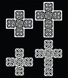 Celtic cross - set of traditional designs in white on black