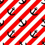 Tile vector pattern with black anchor and red white stripes