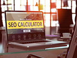 Laptop Screen with SEO Calculator Concept.