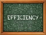 Efficiency Concept. Doodle Icons on Chalkboard.