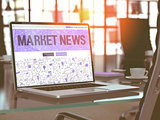 Market News - Concept on Laptop Screen.
