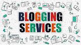 Blogging Services Concept. Multicolor on White Brickwall.