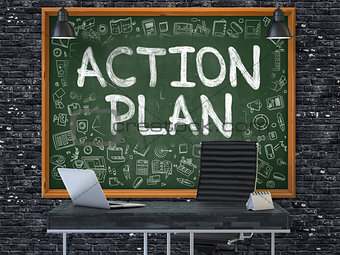 Action Plan - Hand Drawn on Green Chalkboard.