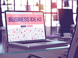 Laptop Screen with Business Ideas Concept.