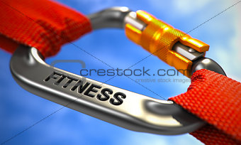 Chrome Carabiner Hook with Text Fitness.