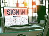 Sign In Concept on Laptop Screen.