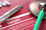 Herpes. Medical Concept on Red Background.