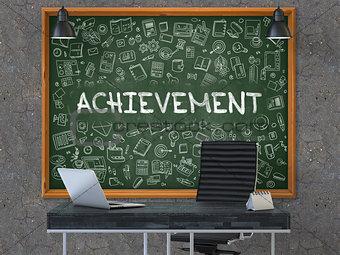 Achievement Concept. Doodle Icons on Chalkboard.
