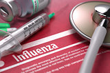 Influenza. Medical Concept on Red Background.