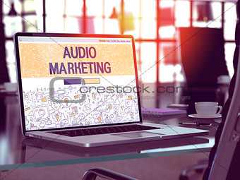 Audio Marketing Concept on Laptop Screen.