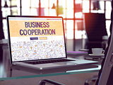 Business Cooperation Concept on Laptop Screen.