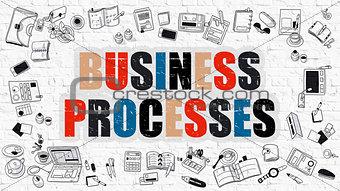 Business Processes in Multicolor. Doodle Design.