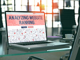 Laptop Screen with Analyzing Website Ranking Concept.