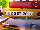 Yellow Ring Binder with Inscription Budget 2016.