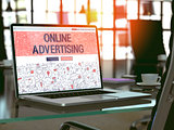 Online Advertising Concept on Laptop Screen.
